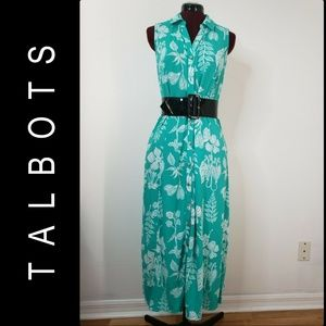 Talbots Woman Sleeveless Button Front Dress Sz PM
